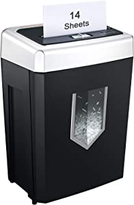 Bonsaii 14-Sheet Cross-Cut Heavy Duty Paper Shredder, 30-minite Continuous Running Time, Strong Shredding Ability and High Security for Office and Home Use, 4.8 gallons Wastebasket,Black