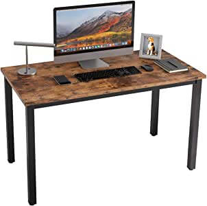 "IRONCK Computer Desk, 47"" Office Desk with 0.7"" Thicker Tabletop, 1.6"" Sturdy Metal Frame, Simple Study Table, Industrial Style Writing Study Table for Home Office Vintage Brown"