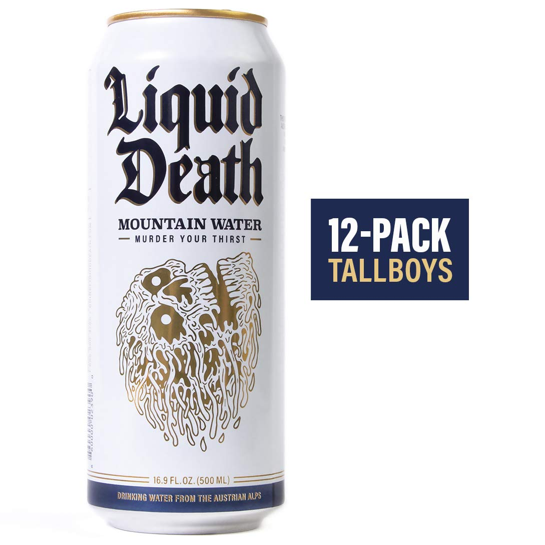 Liquid Death Mountain Water, 16.9 oz Tallboys (12-Pack)
