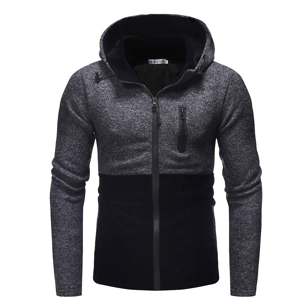 Seaintheson Men's Casual Hoodies,Autumn Patchwork Long Sleeve Hooded Pullover Drawstring Hooded Sweatshirt Tops
