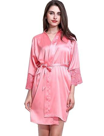 Belloo Ladies Silk Satin Kimono Dressing Gown Robe Lace Trim