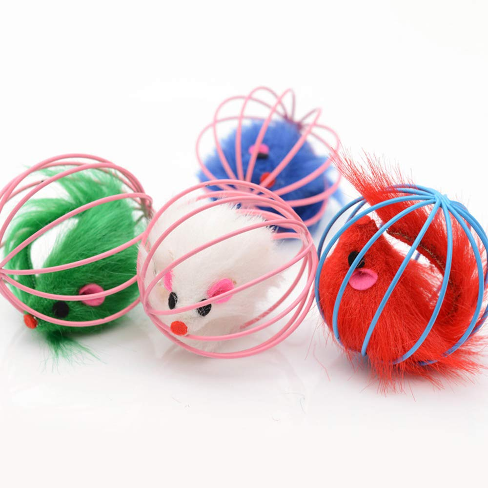 Potelin Pet Cat Toy Hollow Feather Mouse Toys Pet Interactive Toy Cat Chew Teaser Toy Kitten Chase Toy 1PCS Random Color