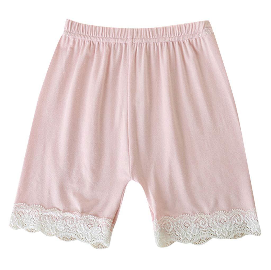 iLOOSKR Toddler Children Kid Solid Lace Safety Pants Shorts Underwear for Girls Pink