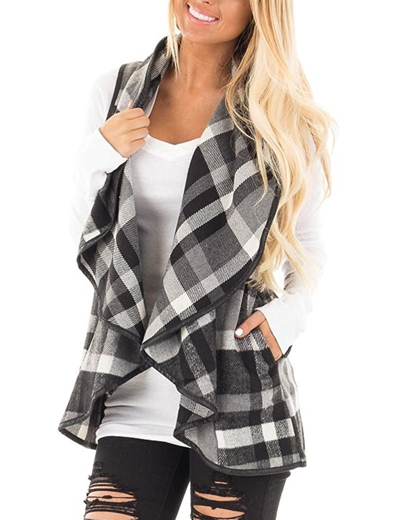 Yanekop Womens Sleeveless Open Front Hem Plaid Vest Cardigan Jacket with Pockets(Black,M)