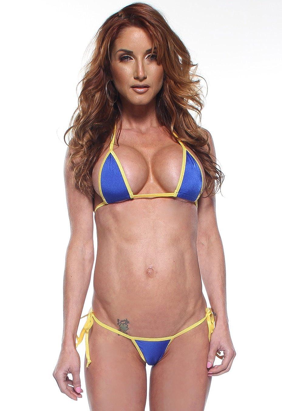 8c0d0216dff Amazon.com: Royal Blue Sexy Small Tie Side Thong Bikini 2pc Exotic Micro w/  Neon Yellow Trim: Clothing