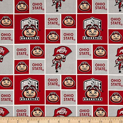 Collegiate Cotton Broadcloth Ohio State University Fabric