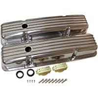 DEMOTOR PERFORMANCE Finned Short Polished Aluminum Valve Covers W/Holes 350 for SBC Small Block Chevy