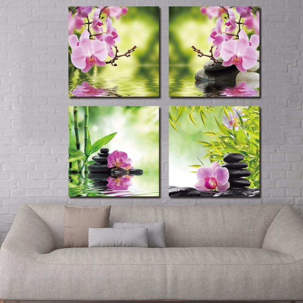 FKHLJ Arte LienzoPintura Botánica Verde Feng Shui Orquídea Pintura Al Óleo sobre Lienzo 4 Panel Imagen Abstracta Decoración para El Hogar
