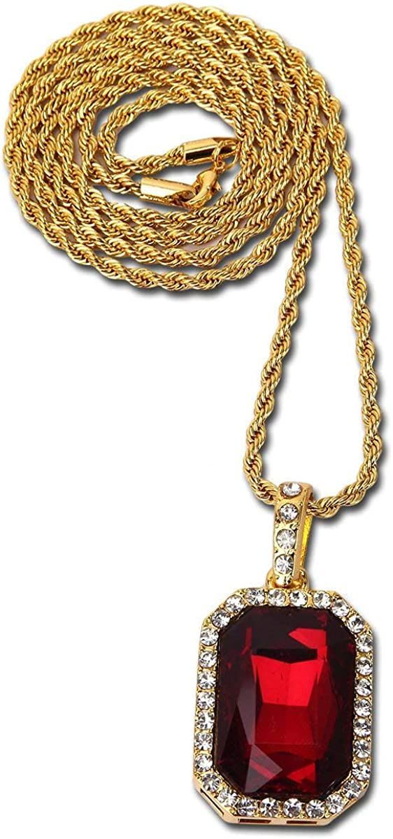 taPfPmFD Collar Colgante Espesor de 18 Quilates Chapado en Oro Verdadero de la Piedra Preciosa de los Hombres con la Cadena de torsión 30