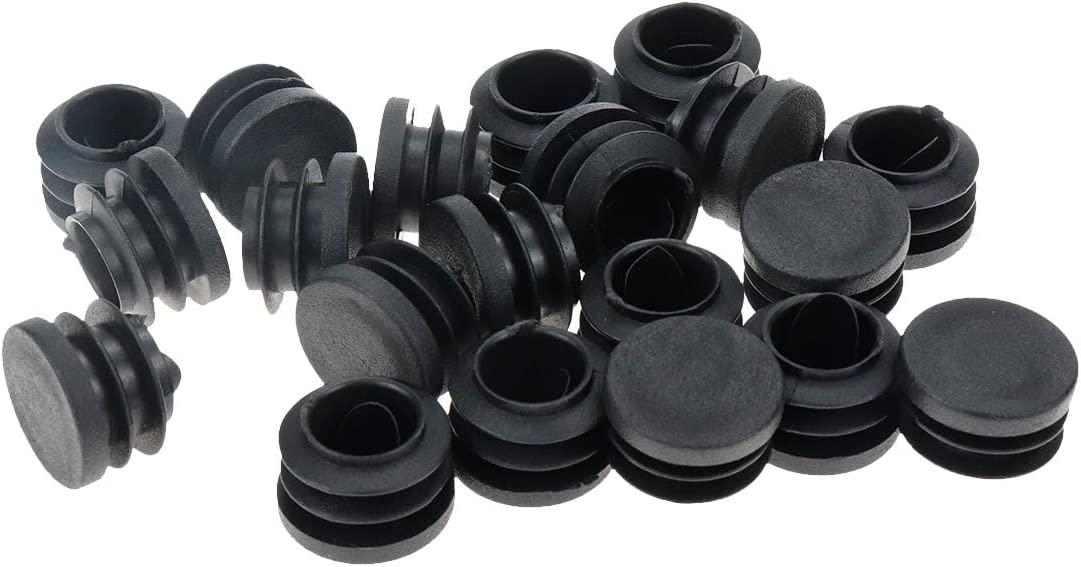 Black Pipe Tubing End Cap,Wear-Resistant Foot Plug Durable Chair Glide Round Plug Cap Covers Protector,20 PCS Bitray 1 Inch Round Plastic Plug