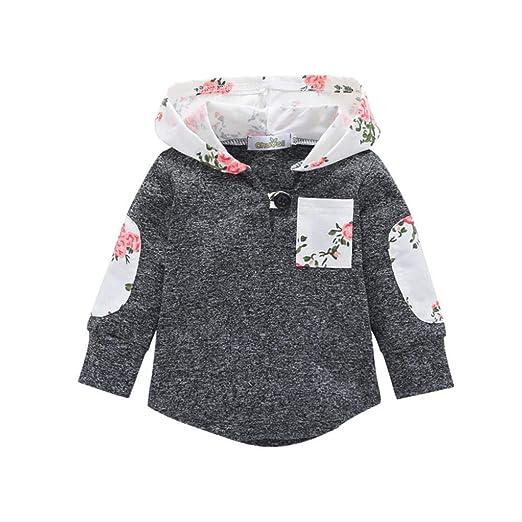 28c969be163c Amazon.com  Coat For Baby Pulison Floral Hoodie Pocket Sweatshirt ...