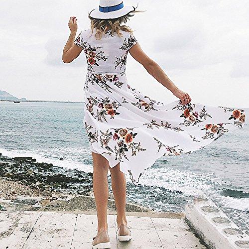 Floral V Plage Chic de Ete Robe Bandage Imprim Robe Femme Cocktail Femme Robe Ourlet Robe Femme Robe Femme lache Col Femme Femme Robe Longue Soire de Blanc Weant de Soire Robe EnORqw7x8x