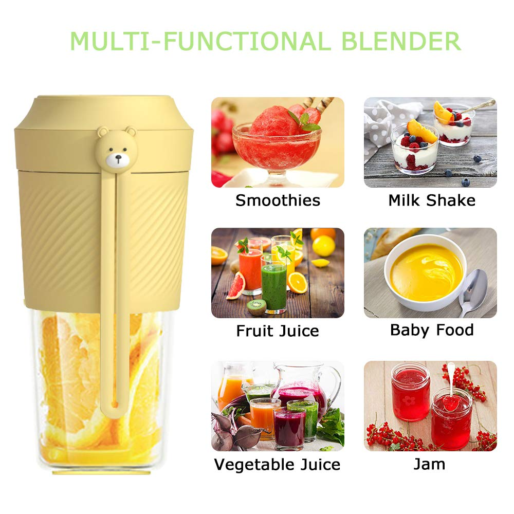 ALL JOINT Portable Juice Blender Mini Handy USB Rechargeable Fruit Mixer Cup Smoothies 11oz Home Outdoor Travel Juicer BPA Free(Yellow)