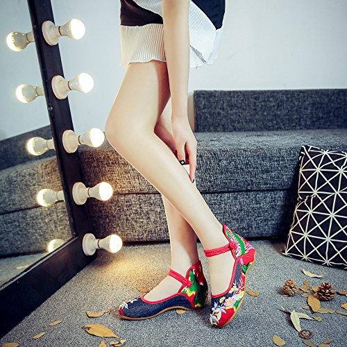 WXT Zapatos bordados, lenguado del tendón, estilo étnico, zapatos de tela femenina, moda, cómodo, casual dentro del aumento navy blue