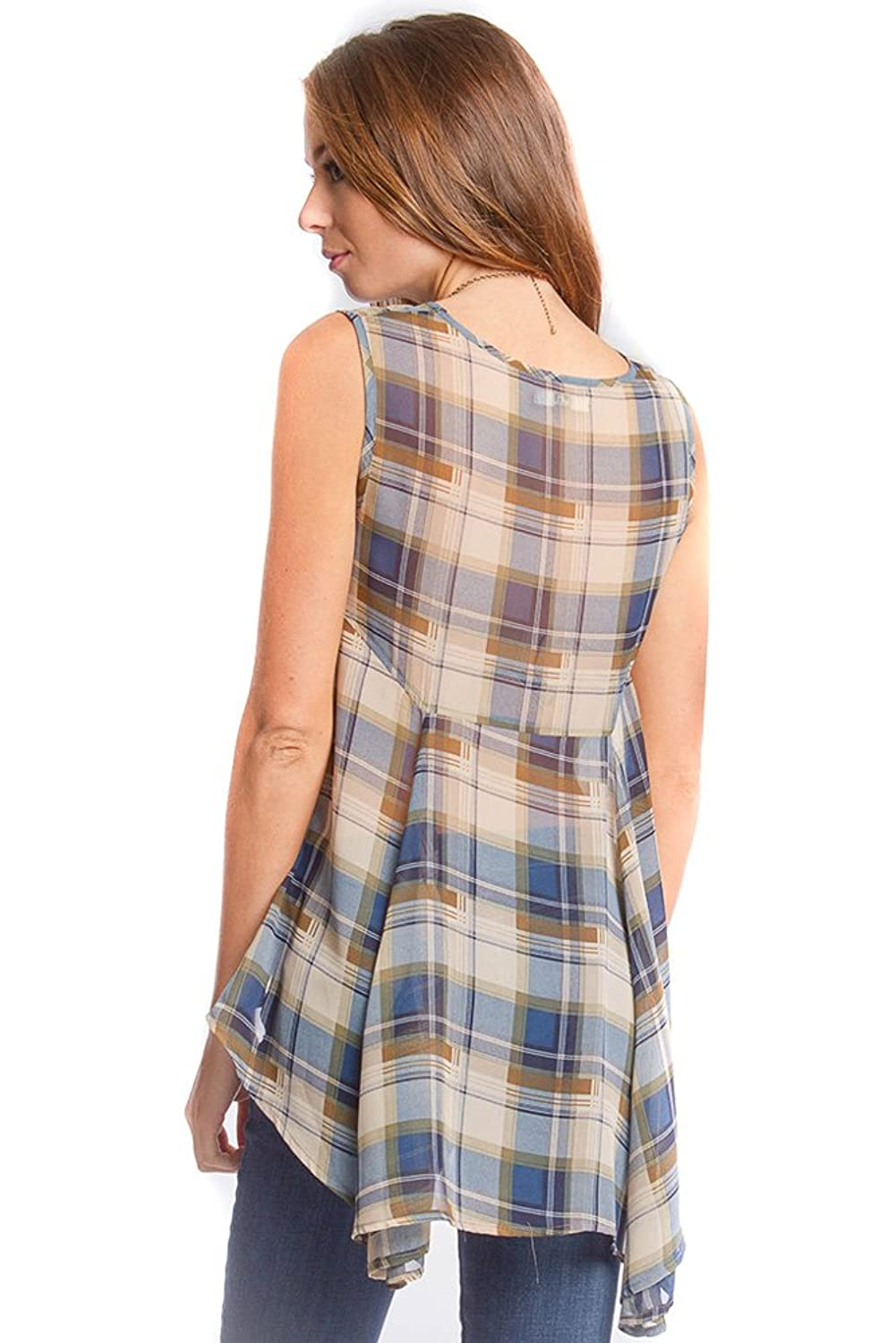She + Sky Women's Sleevless High-Low Plaid Print Top