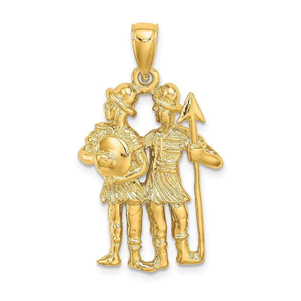 14k Yellow Gold Large Gemini Zodiac Charm