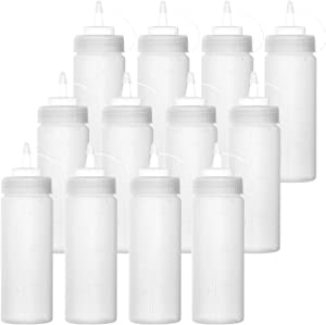 Bekith 12 pack 12 Oz Plastic Squeeze Condiment Bottles with Twist On Cap Lids and Discrete Measurements, Wide Mouth Empty Squirt Bottle For Sauce, Ketchup, BBQ, Dressing, Paint, Pancake Art Dispenser
