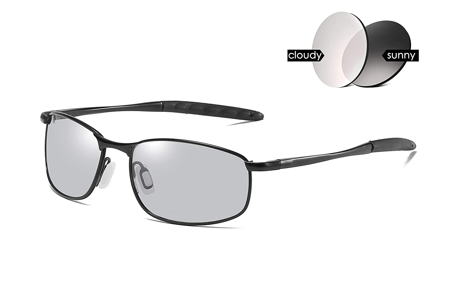 d6bc5ce0d85 Amazon.com  FEISEDY Classic Polarized Photochromic Sunglasses Driving  Photosensitive Glasses B2444  Clothing