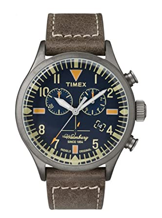b7a56789522c Amazon.com  Timex Waterbury Blue Dial Leather Strap Men s Watch ...
