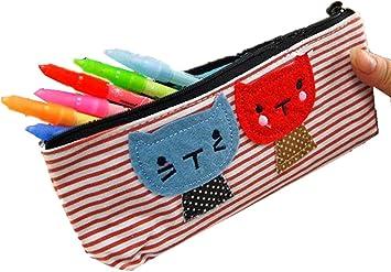Dibujos animados creativos Cat Student Gran capacidad Lienzo Estuche de lápices Bolsa de maquillaje Estuche de lápices Estuche de almacenamiento con cremallera (Rojo): Amazon.es: Bricolaje y herramientas