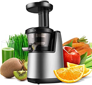 Juicer,Cold Press Juicer Machine, Masticating Juicer Slow Juice Extractor Maker Electric Juicing Vertical Stand for Fruit Vegetable Greens Wheat Grass More with Big Cup Juicing Bowl, Silver