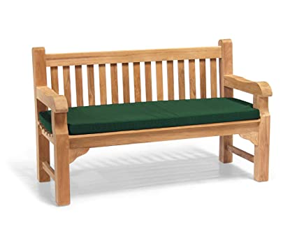 Miraculous Jati Gladstone Outdoor Wooden Teak Fully Assembled Garden Bench 1 5M 5Ft With Green Cushion Brand Quality Value Lamtechconsult Wood Chair Design Ideas Lamtechconsultcom
