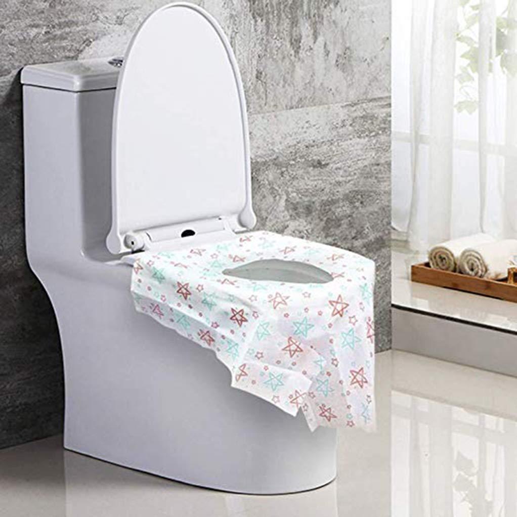 Protectores desechables para asiento 6 piezas Cubierta de asiento de inodoro desechable impermeable Cubierta de asiento de inodoro desechable para ba/ños p/úblicos