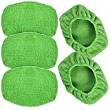 "eFuncar Car Care Microfiber Cloths for Windshield Cleaning Tool, Windshield Cleanner Wand Replaceable Glass Cleaning Bonnets, Interior Auto Window Cleaner Washing Pads, Fit 5"", Green, 5 Pack"
