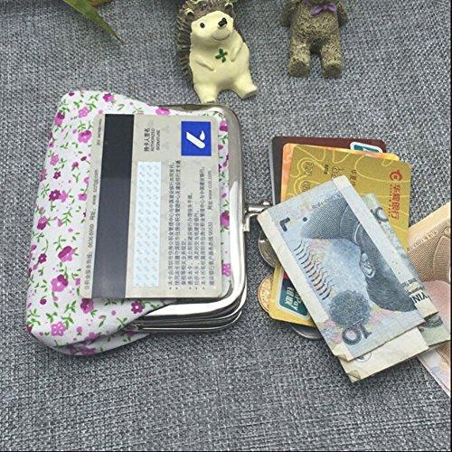Doppel Layered Canvas Portemonnaie Blumen Keys Pocket Card Wallet Beige lW83Fca