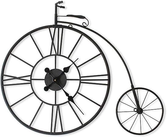 Reloj de pared retro europeo Reloj de pared Creativo Bicicleta Arte de hierro Silencioso Vintage Reloj tridimensional Sala de estar Café Decoración de pared Reloj 丨 Sin segunda mano 丨 Estilo industri: