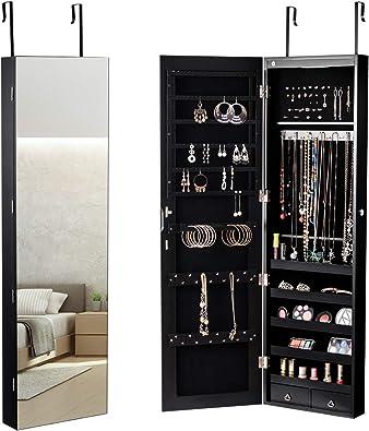 COSTWAY Armoire à Bijoux Mural avec Miroir et Lumière LED Armoire de  Rangement Accrochée à La Porte 120 x 36 x 10 cm