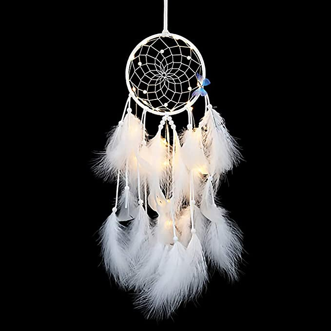 "NEW 5/"" x 15/"" ROYAL BLUE DREAM CATCHER HANDMADE STRING FEATHER CAR WALL DECOR IW"