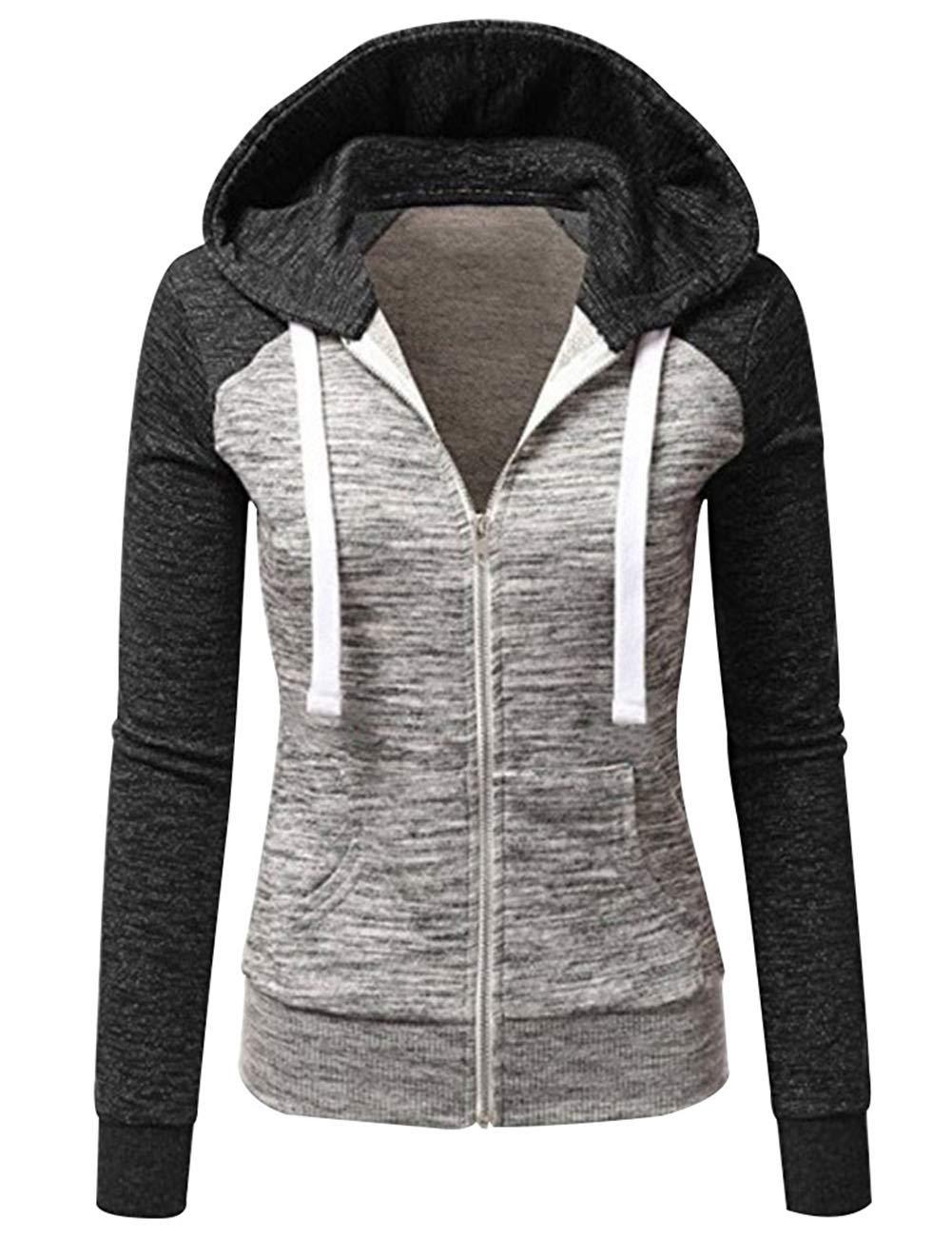 YJQ Women's Fashion Color Block Long Sleeve Zip Up Hoodie Sweatshirt Sports Jacket Activewear Coat (M, Black)