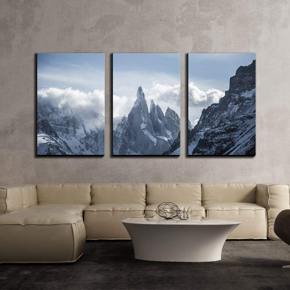 KAROLA 24''x36''x3 Panels Wall Art Canvas Painting Mountain Covered with Snow,Cerro Torre,South America Art Paintings for Kitchen/Living Room Office Decor Stretched and Framed