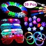 Party Favors LED Light Up Toys Glow in Dark Supplies 59 Pieces with 40 LED Finger Lights 10 Flashing Bumpy Rings 5 Led Bracelets 4 Flashing Slotted Shades Glasses Halloween Birthday Christmas Carnival