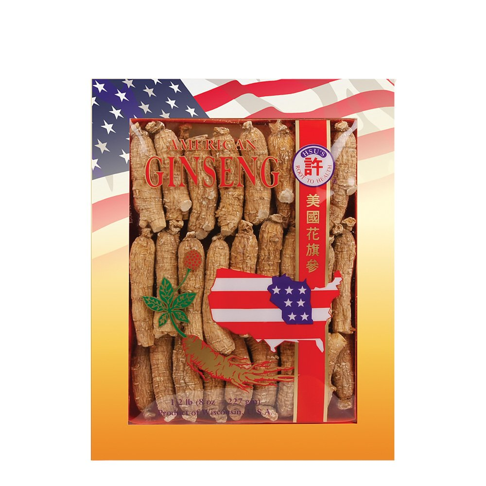 SKU 0132-8, Hsu s Ginseng Half Short Medium Cultivated American Ginseng Roots 8 oz 227 gm box , with one free single American ginseng tea bag, 132-8, 132.8