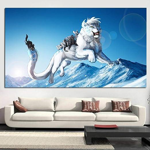 Imprimir Pintura del león artístico Animales ratón Blanco ...