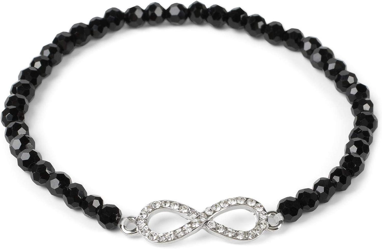 styleBREAKER Pulsera de Perlas de Mujer con Colgante «Charm» de estrás en Forma del símbolo del Infinito, elástico, Pulsera de Bolas, bisutería 05040171