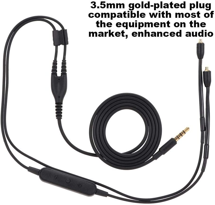 Replacement Cable for SHURE se215 se425 se535 se846 ue900 Black, Without Mic Headphone Extension Cable with 3.5mm Plug Braided Headphone Wire