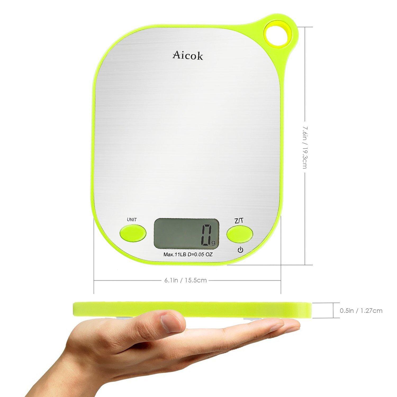 Aicok Báscula Digital para Cocina de Alimentos y líquidos con soporte para colgar pesa 11 gramos / 5 kg, báscula de cocina de acero inoxidable, Color ...