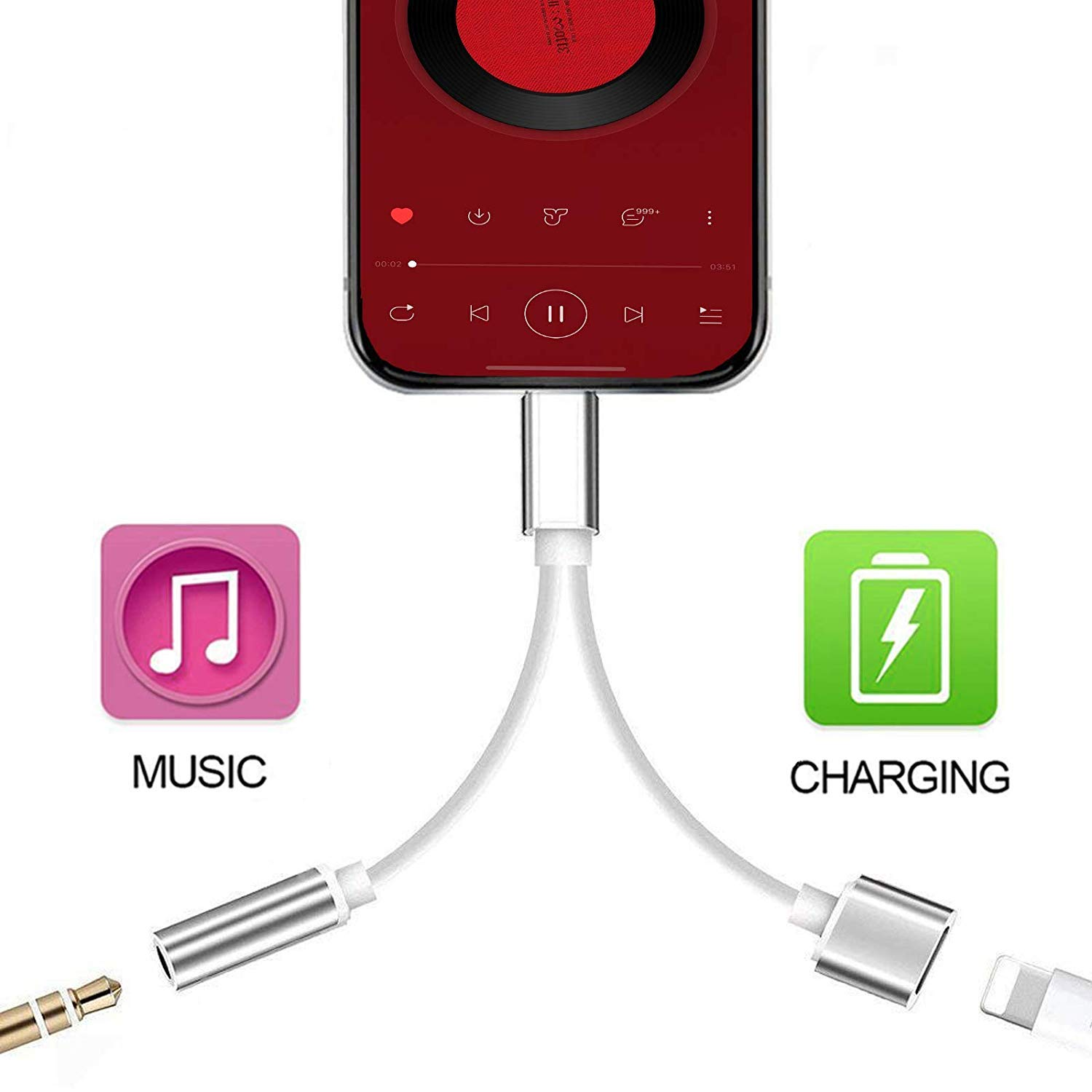 MoonshineStillPro Lightning Headphone Splitter 2 in 1 Jack Adapter Cable Connector Audio /& Charger Compatible with iPhone 11//11Pro//Max X//XR//XS//XSmax//8//7//6 Earphone Cable Accessories Support iOS 12