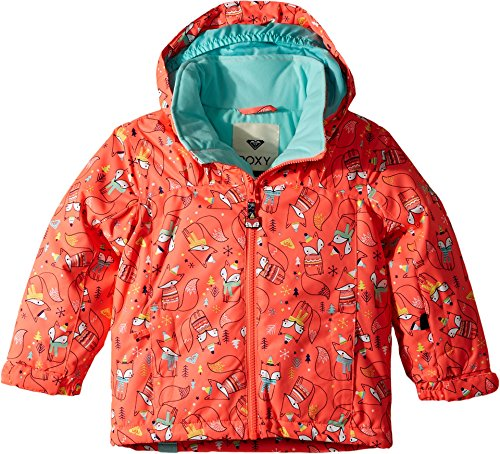 Roxy Little Girls' Mini Jetty Snow Jacket, Neon Grapefruit_Foxes, 6/7 by Roxy