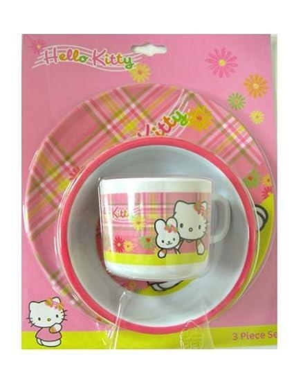 Taza y plato, cuenco, diseño de Hello Kitty en plástico vajilla infantil de melamina