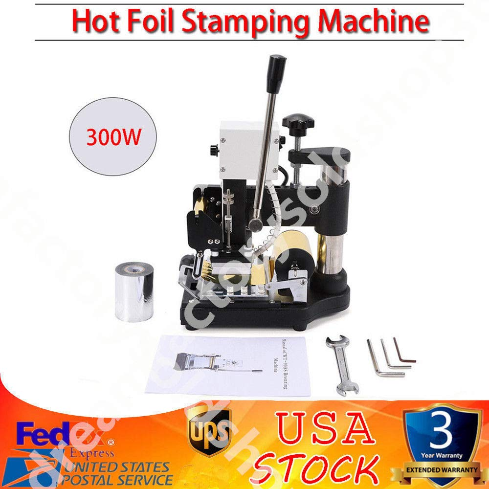 Hot Foil Stamping Machine, 2.4x3.5 Inch Hot Plate 300W Hot Foil Embossing Stamper Machine Tipper with Sliver Gold Foil Paper for PVC Card Press Printing Leather Embossing Tool