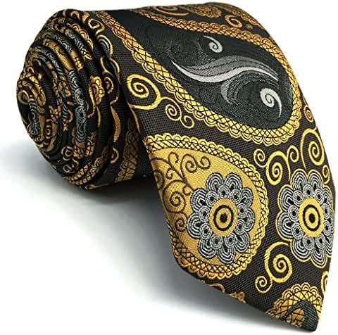Shlax&Wing Paisley Mens Neckties Grey Yellow Tie For Men Unique Business 57.5