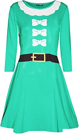 Kids Swing Dress Girls Reindeer Santa Cap Funny Penguin Christmas Xmas Dress Top