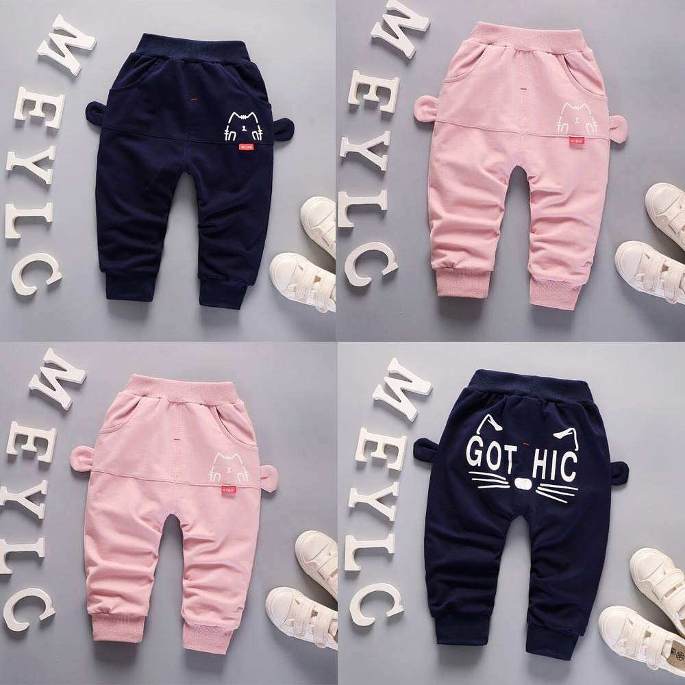 Brilliant sun Toddler Baby Boys Girls Fall Winter Pants Letter Thick Warm Trousers Bottoms