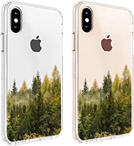 "uCOLOR Forest Tree Clear Case Compatible with iPhone Xs/X iPhone 10 Case (5.8"") Hard PC Back TPU Bumper Transparent Crystal Clear Protective Case for iPhone Xs/X/10 5.8"" inch"
