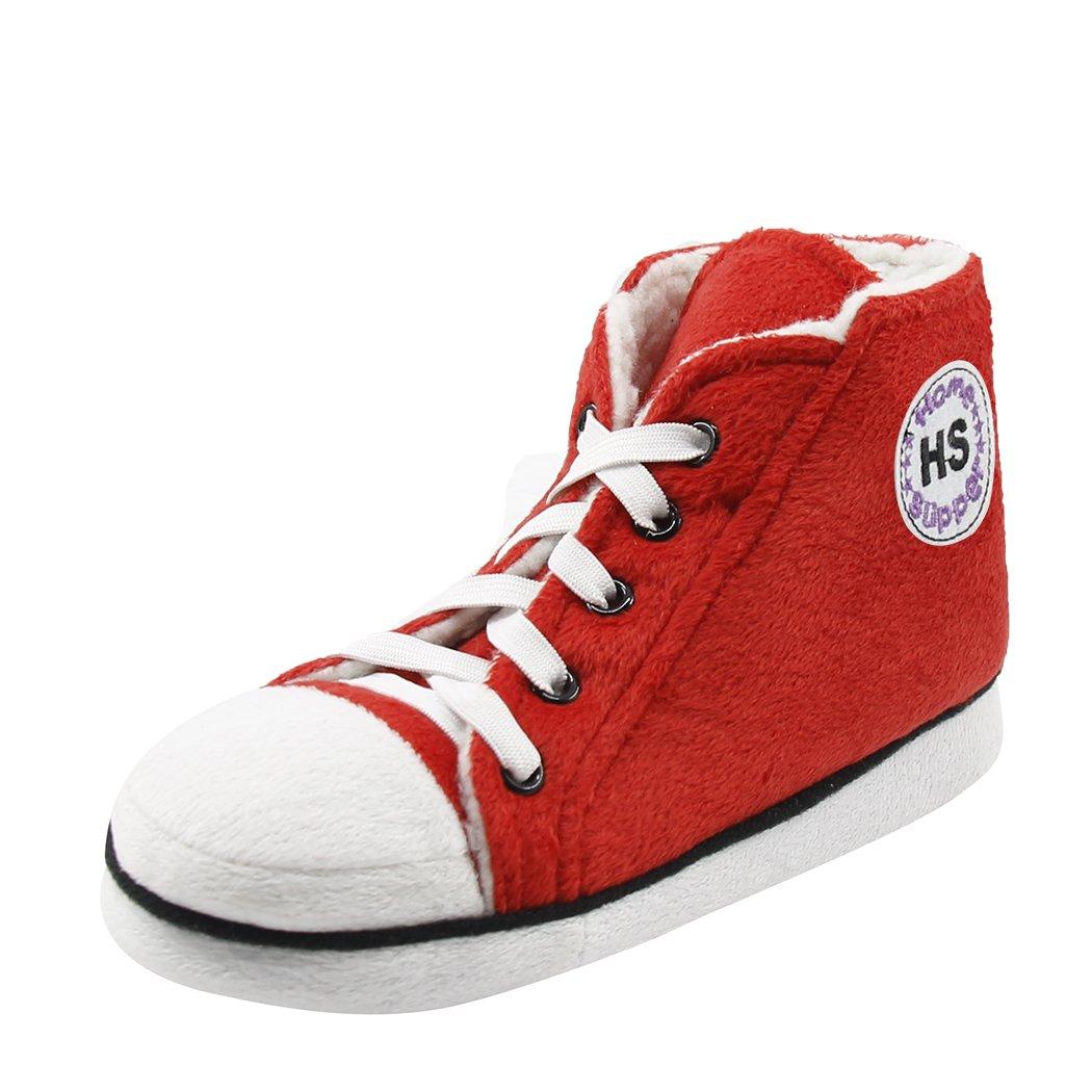 Home Slipper Boy's Girl's Novelty Soft Plush Comfy Indoor Floor Fancy Sneaker Slipper Booties Red White, US 5