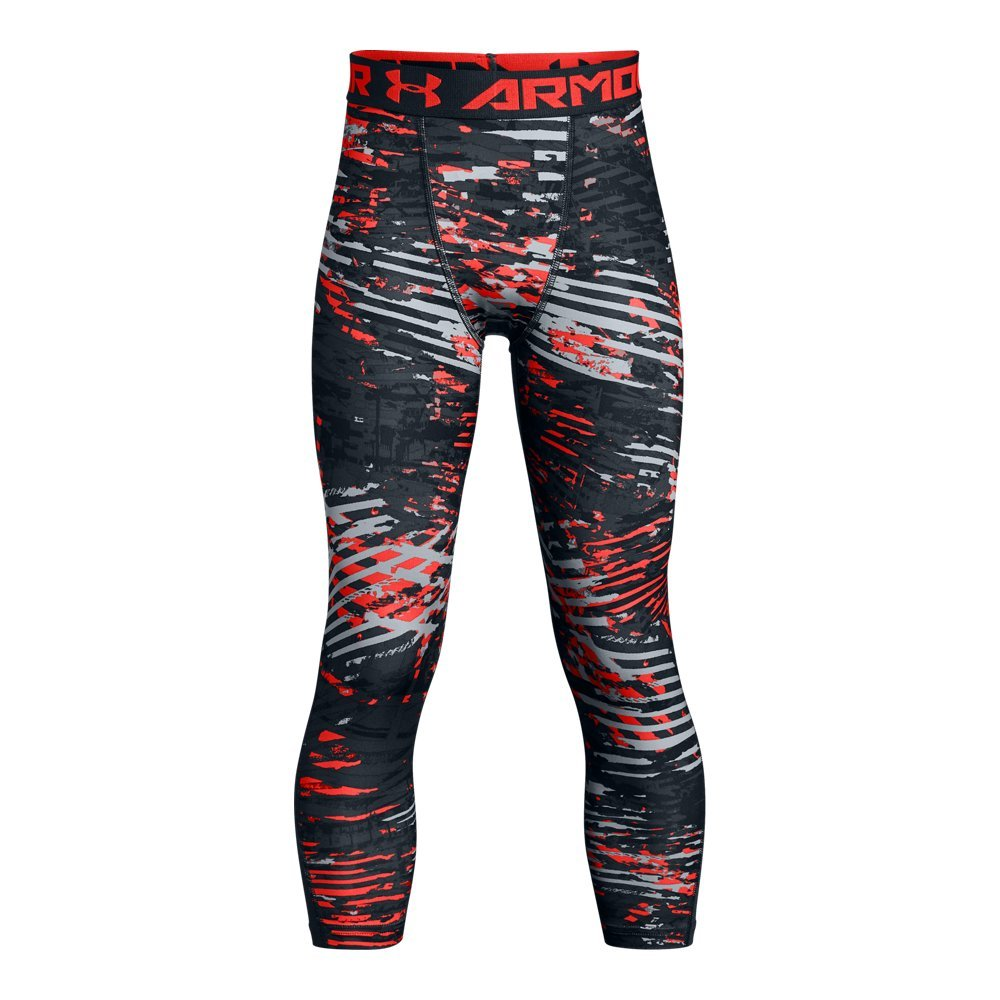 Under Armour Boys' HeatGear Armour ¾ Printed Leggings,Stealth Gray (008)/Neon Coral, Youth Small by Under Armour